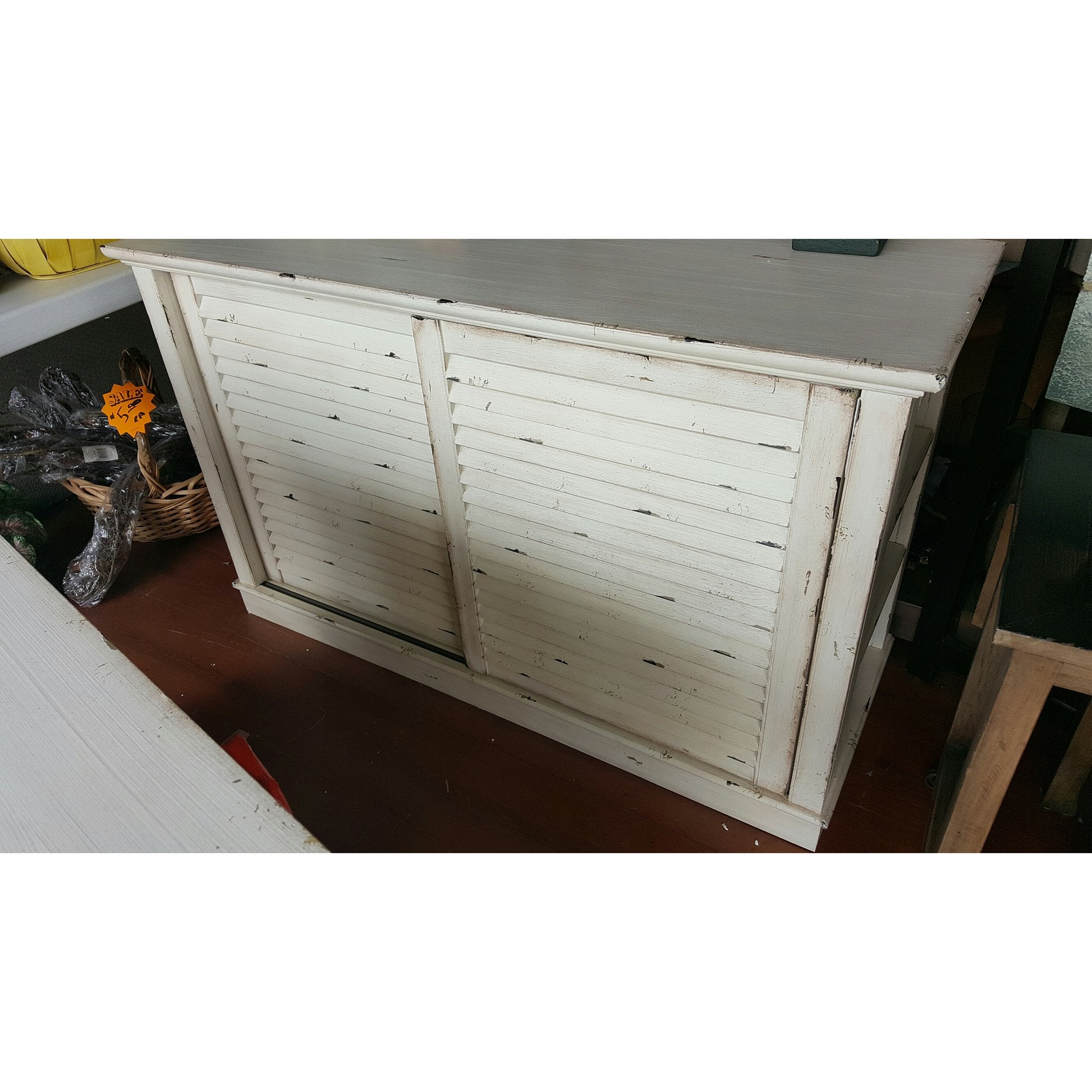 Distressed White Shutter Media Center - TV Stand Cottage - Hidden Treasures