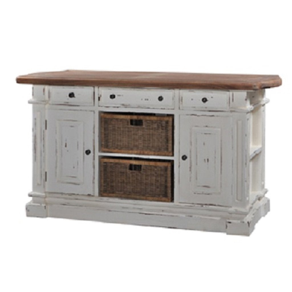 Double Baskets White Distressed Driftwood Top Kitchen Island