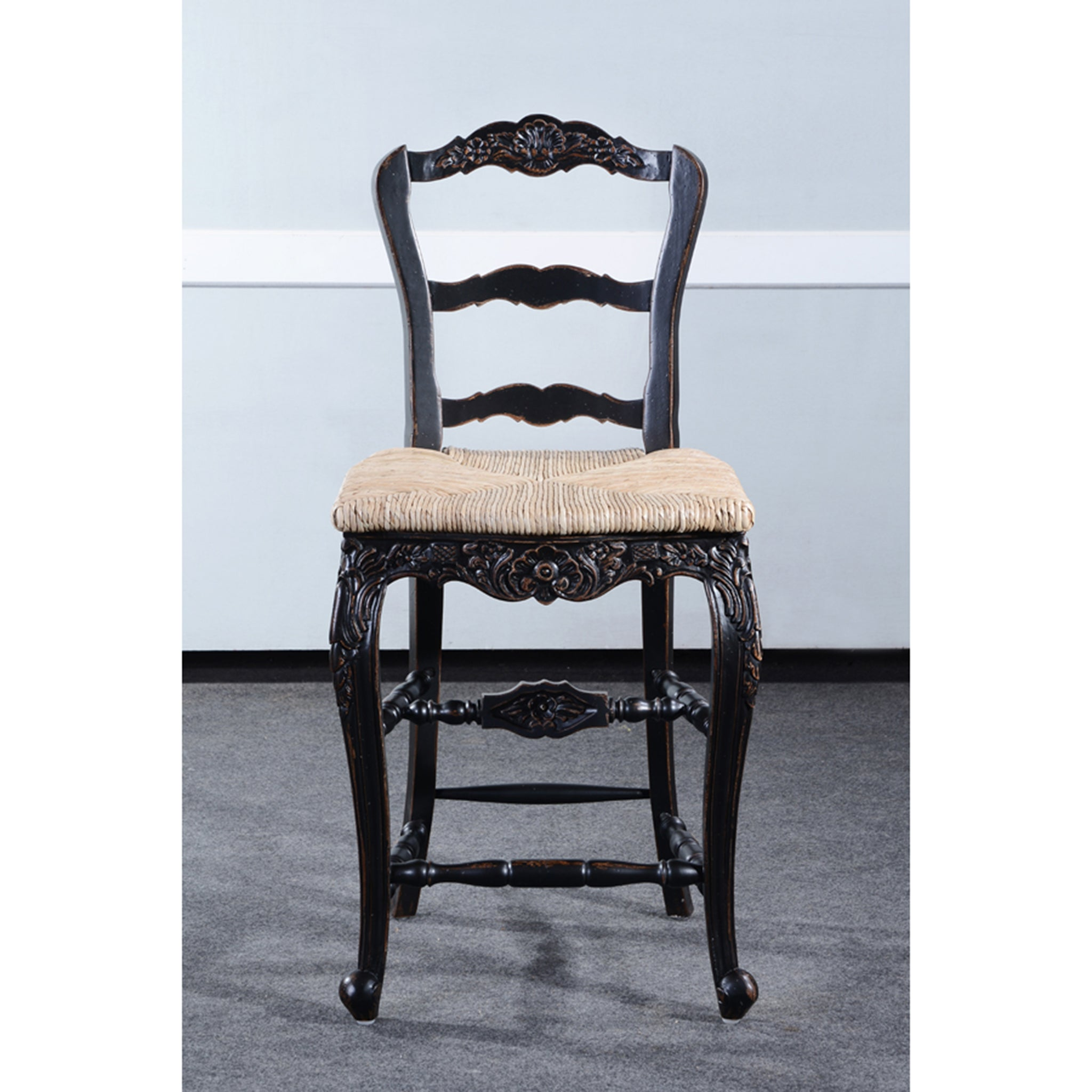 Farmhouse Black Distressed Counter Height Barstool Set of 3 - Furniture on Main