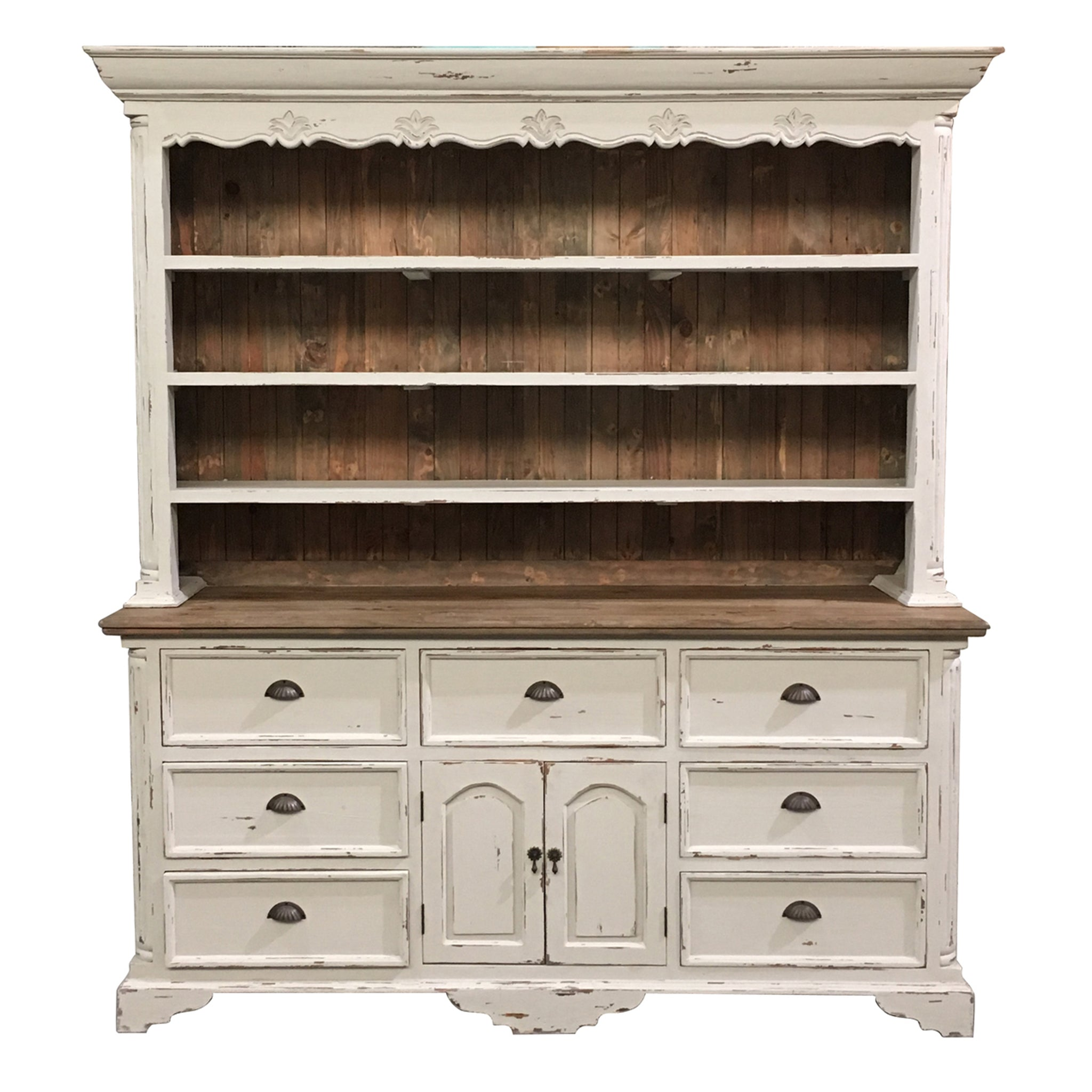 Farmhouse Buffet and Hutch White Distressed with Natural Accents - Furniture on Main