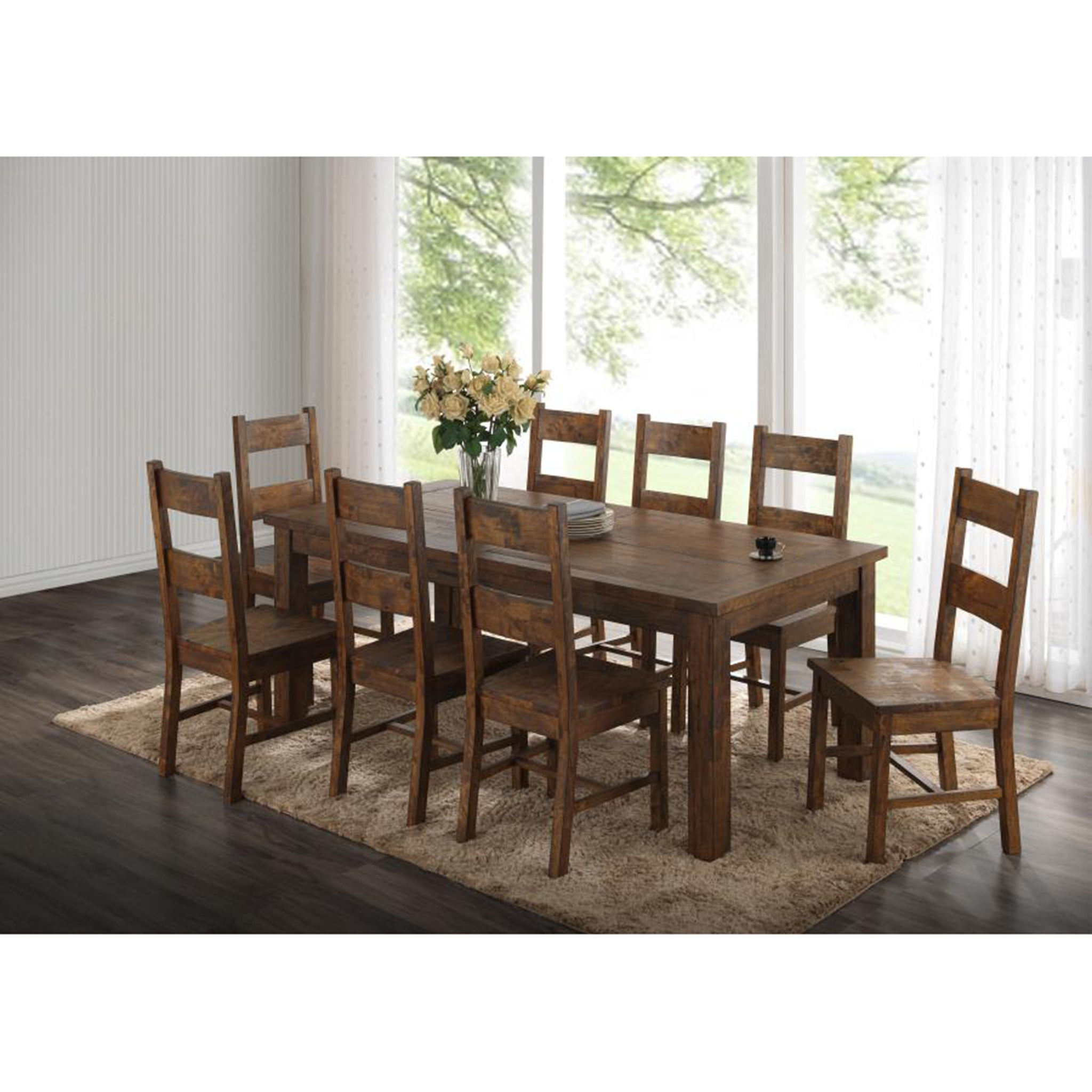 Farmhouse Ladderback Dining Chair Rustic Pecan Set of 4 - Furniture on Main
