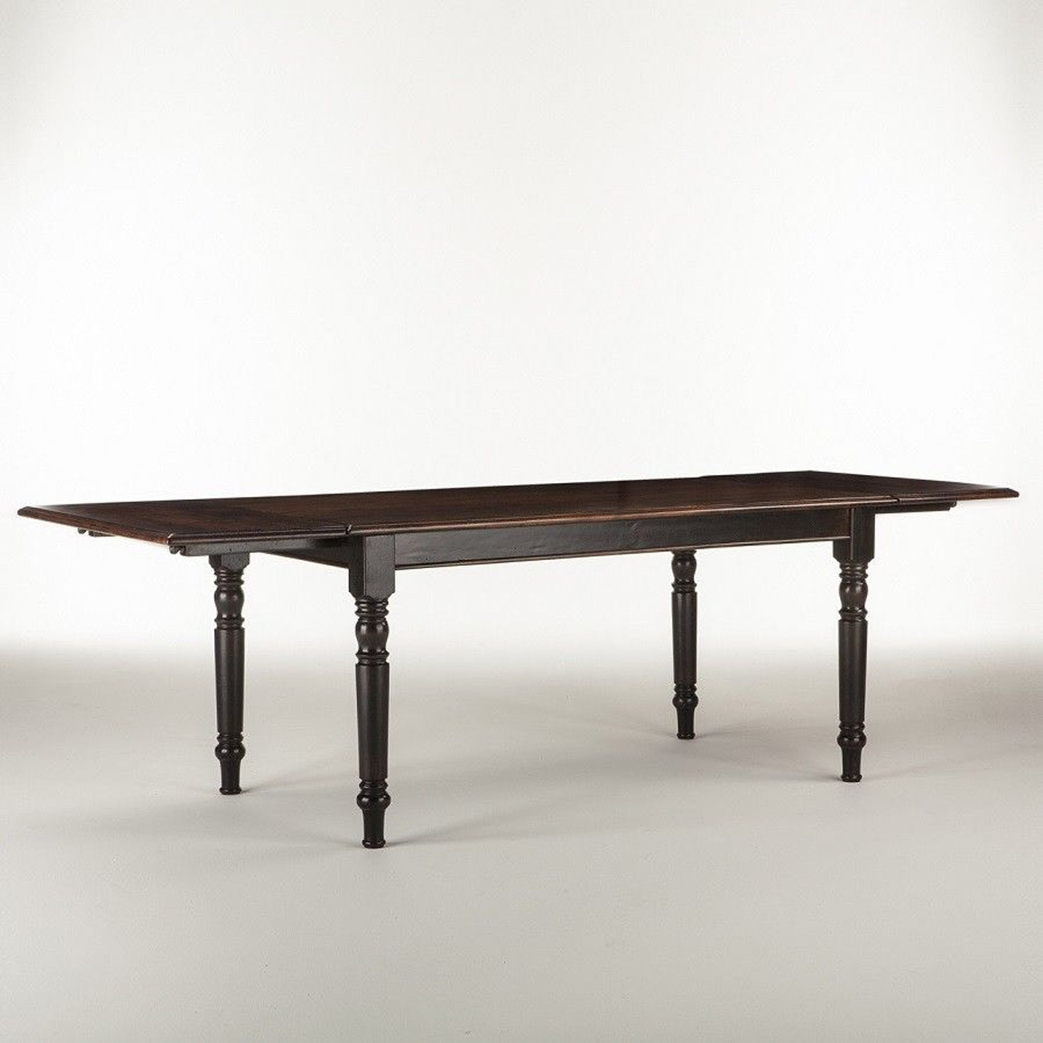 Farmhouse Leg Dining Table Black and Stain Extension Dining Table