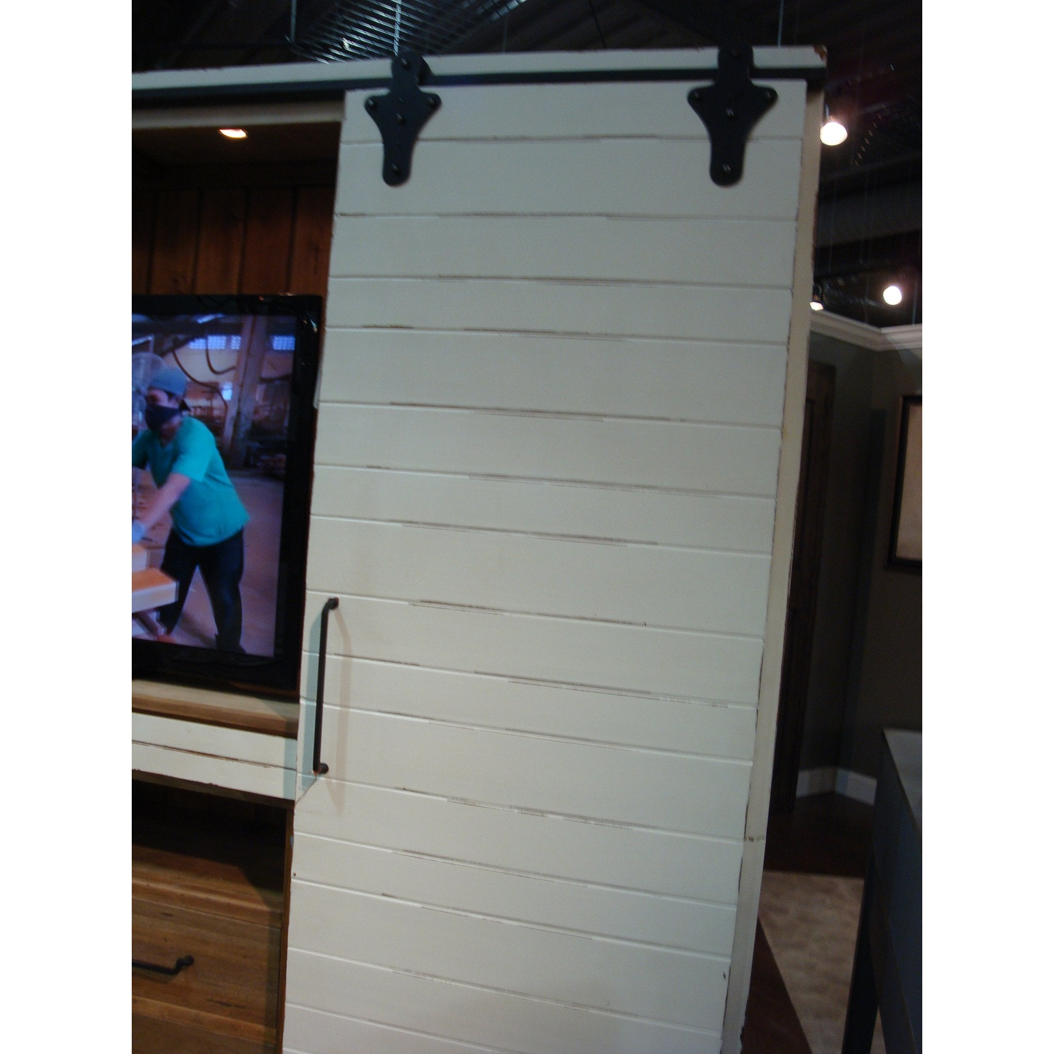 Farmhouse White Distressed Barn Door Media Center - Furniture on Main