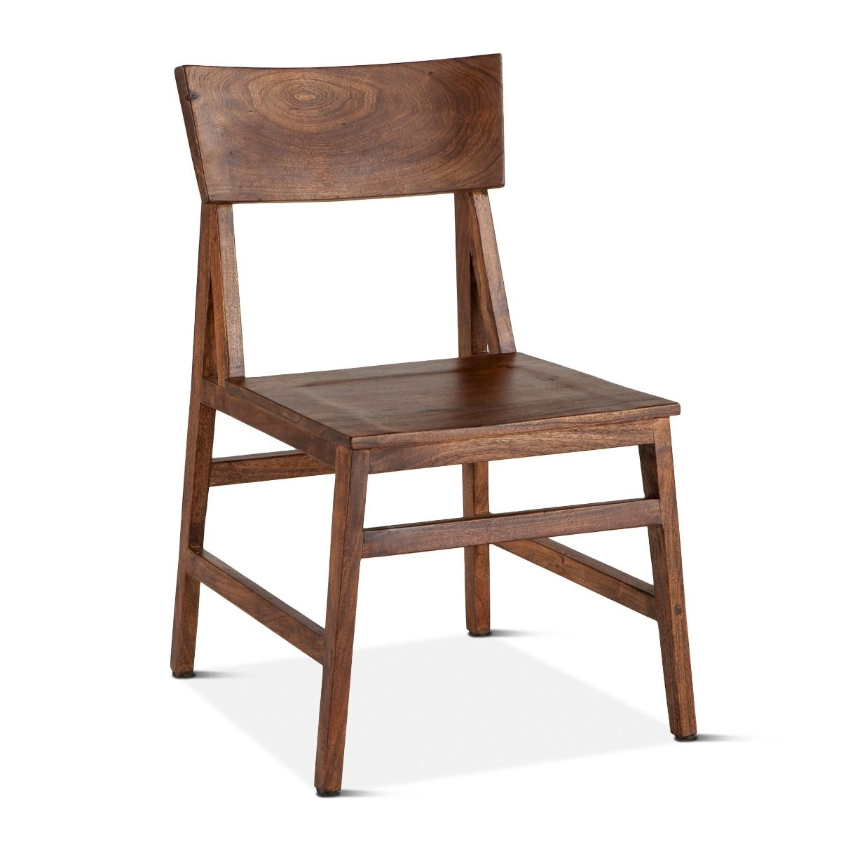 Rustic Walnut finished Wood Side Chair Set of 4