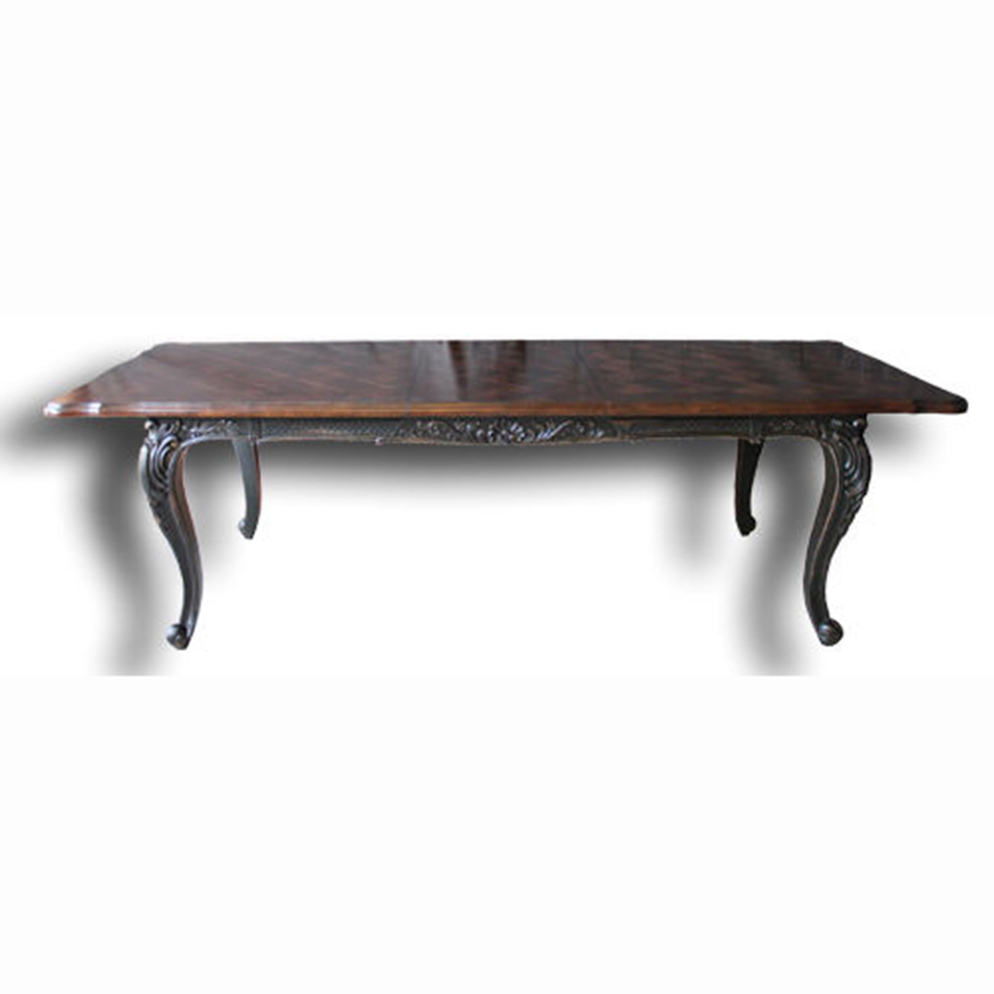 French Extension Dining Table Black Distressed