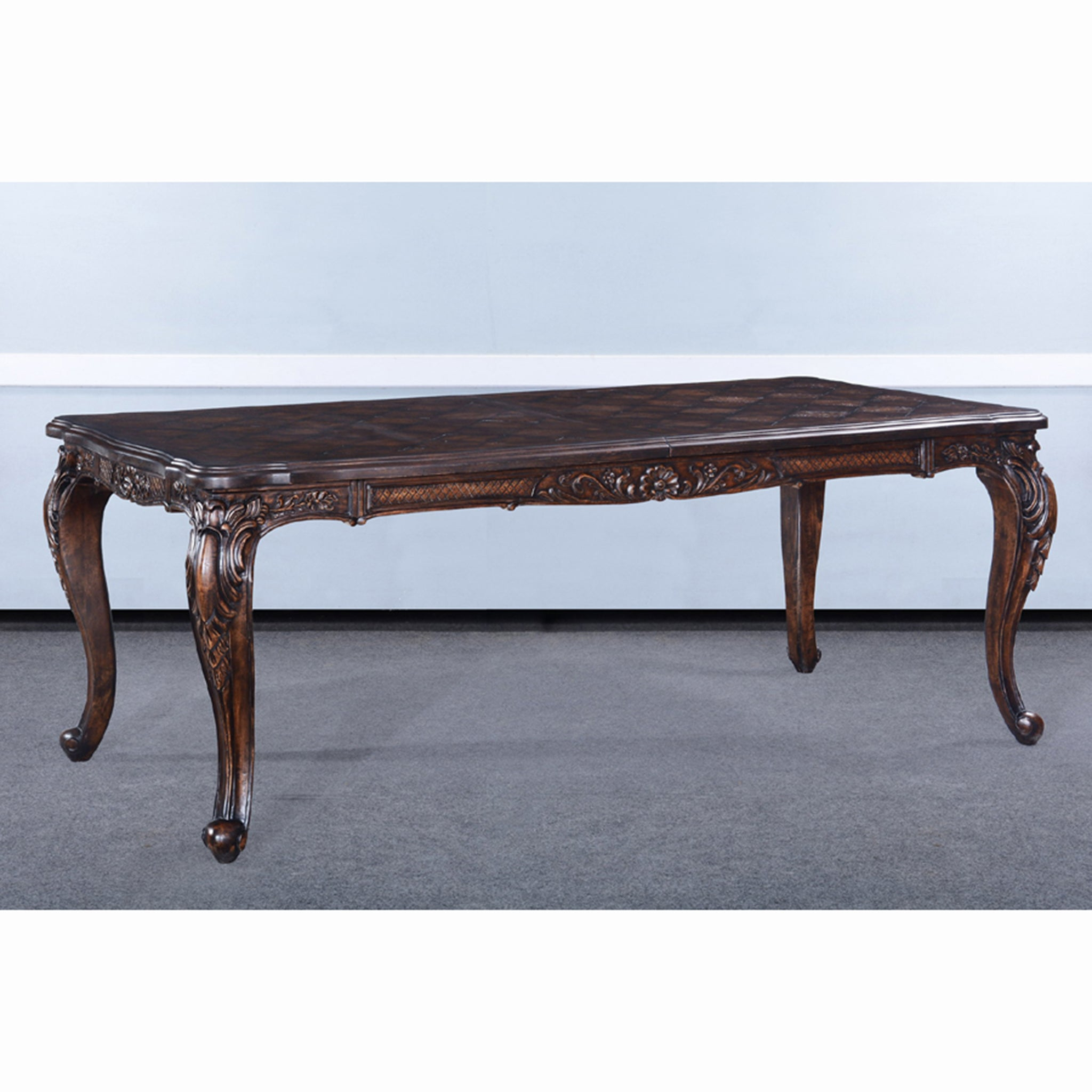 French Extension Dining Table Distressed Walnut Finish
