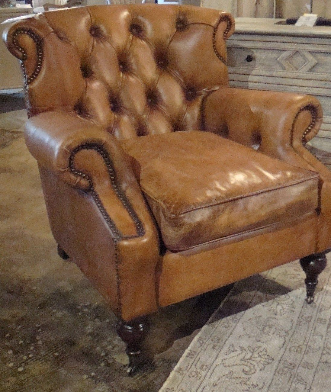 Leather Antique Buffalo Occasional Chair - Furniture on Main