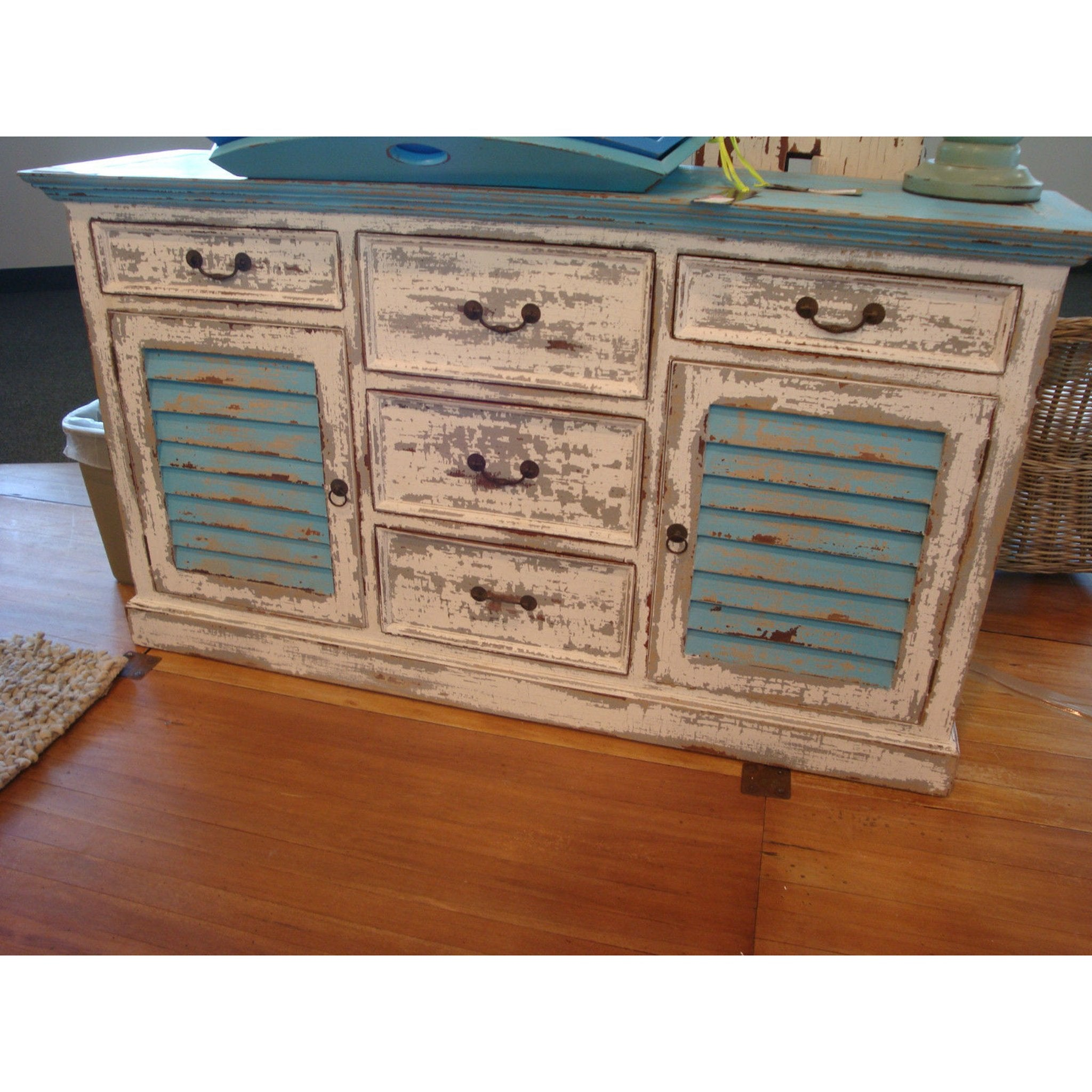Turquoise Shutter Buffet Distresed