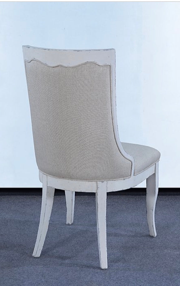 White Dining Chair Oatmeal Linen Fabric Set of 4