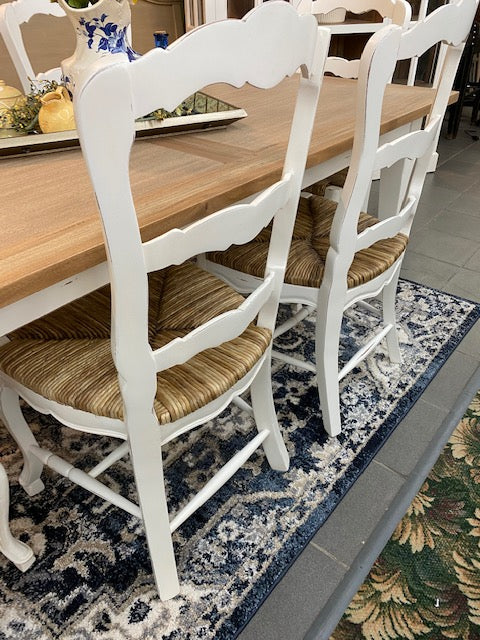Farmhouse Dining Table & 6 Chairs White & Driftwood Set