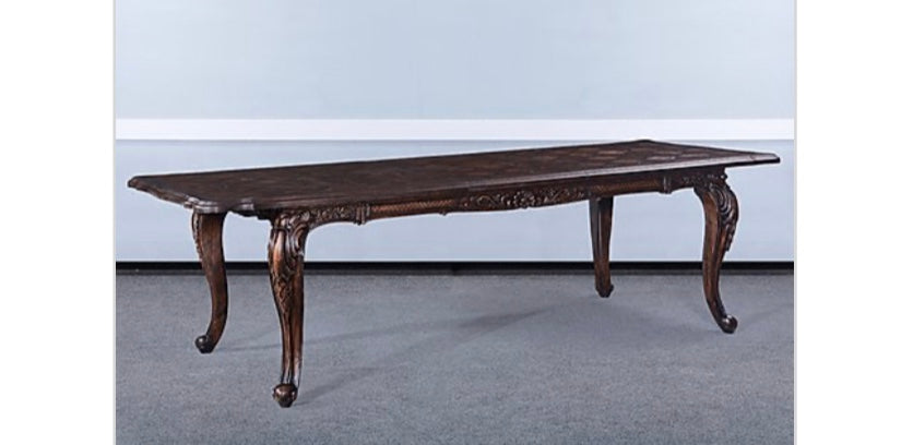 Farmhouse Carved Extension Dining Table Distressed Walnut Finish