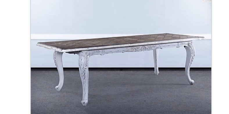 Farmhouse Carved Extension Dining Table White Distressed