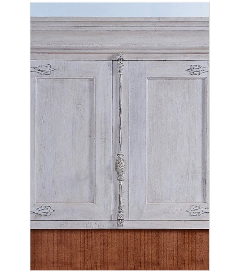 Old World Kitchen Side Cabinet Whitewashed