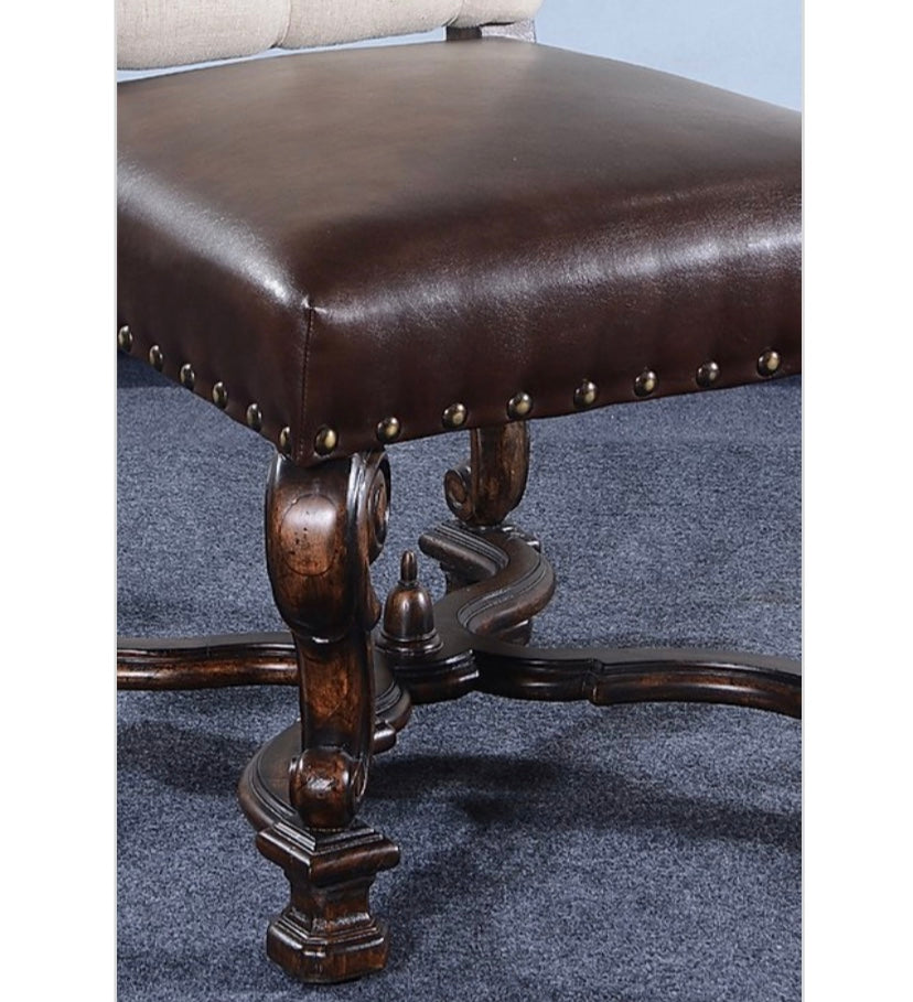 Olde World Button Tufted Ornate Side Chair Set of 2 Leather Seat
