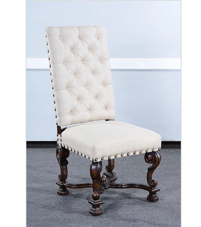 Olde World Button Tufted Ornate Side Chair Set of 2 Oatmeal