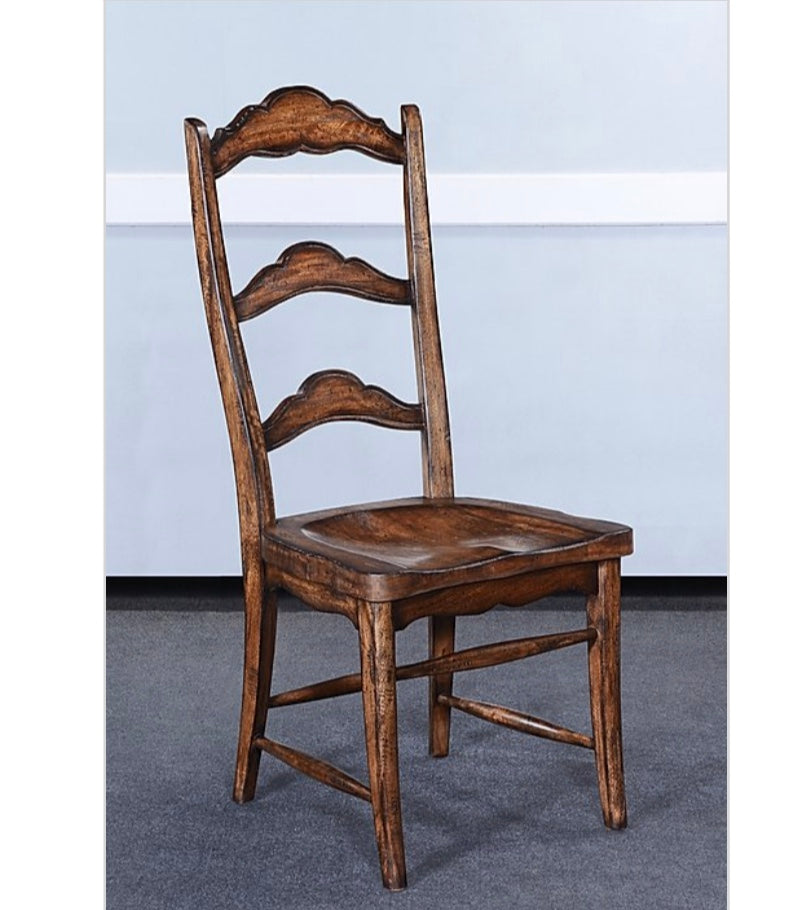 Rustic Farmhouse Pecan Side Chair Set of 6