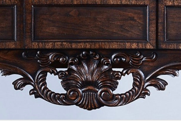 Old World Antiqued Walnut Hand Carved Sideboard