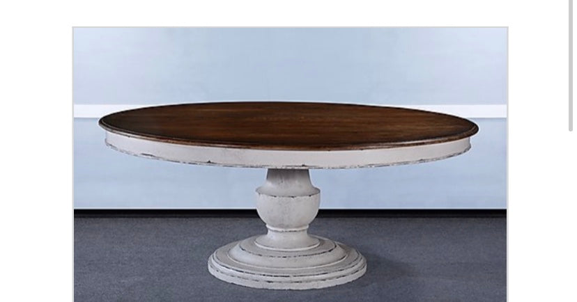 "Tuscany 60"" Round Pedestal Dining Table White"