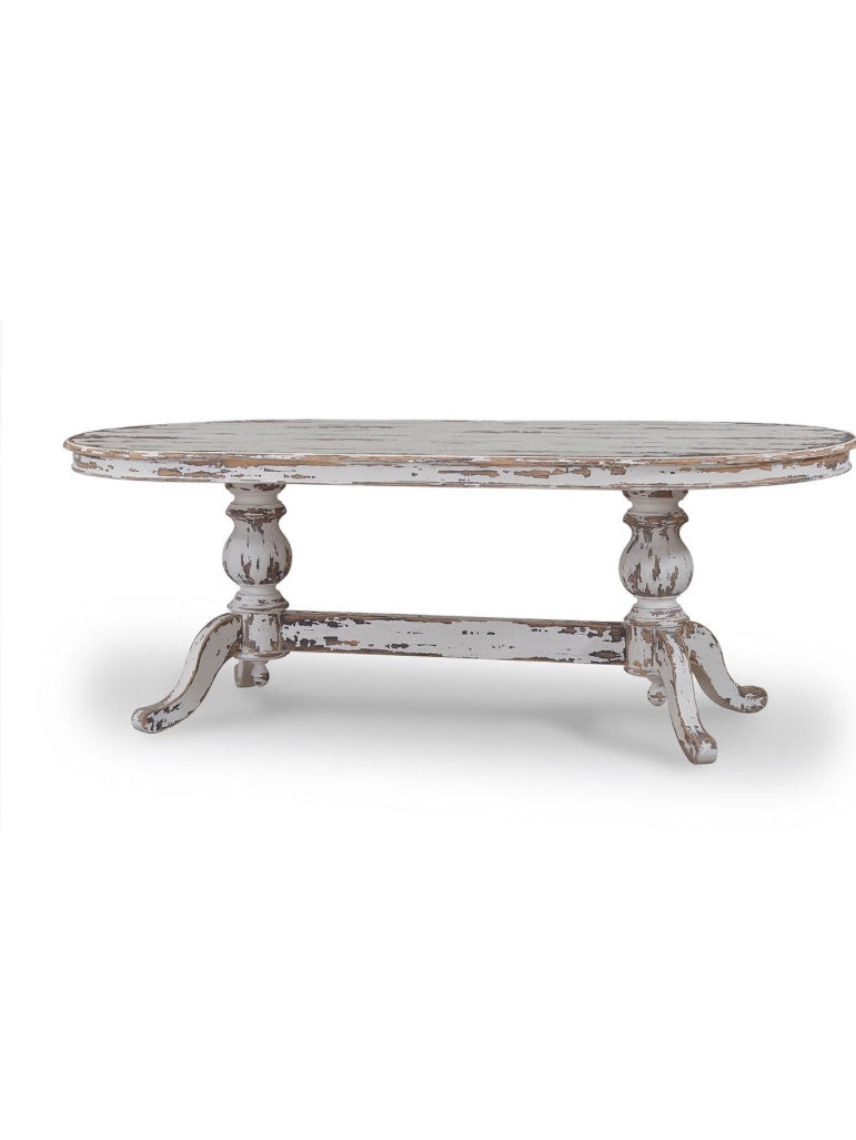 Farmhouse Oval Dining Table Primative Distressed - Furniture on Main