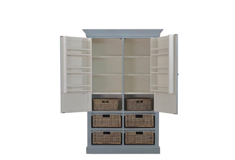 Large Storage Cabinet with baskets Weathered Ocean Blue - Furniture on Main