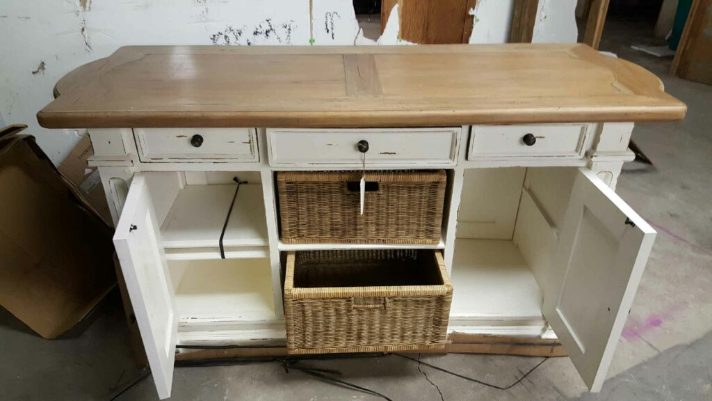 Double Baskets White Distressed - Driftwood Top Kitchen Island - Furniture on Main