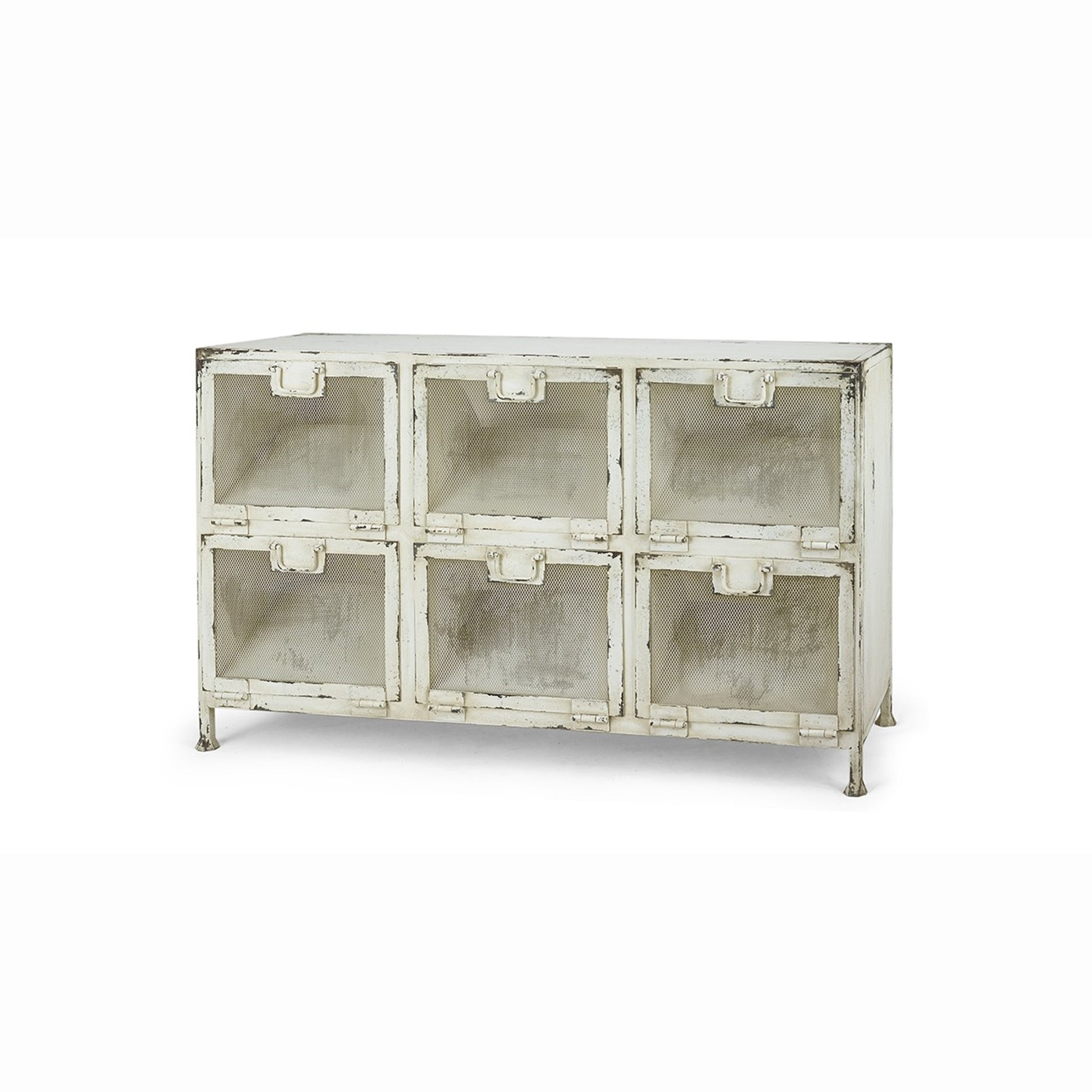 Industrial Designed Metal Storage Bin Cabinet White Distressed