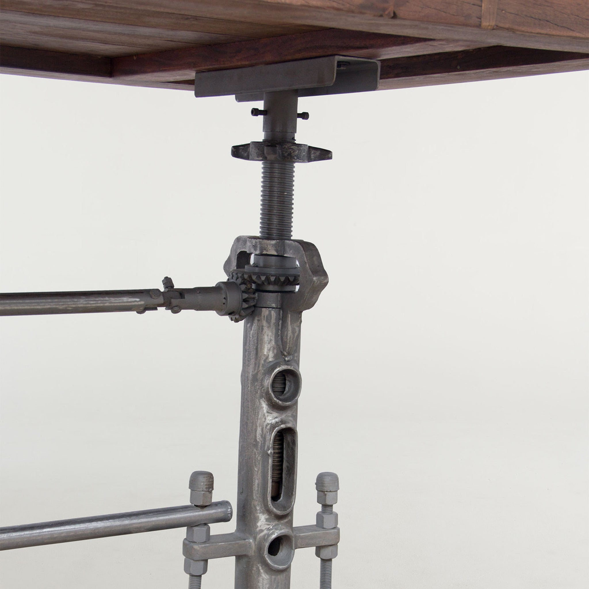 Industrial Crank Adjustable Height  Wood Dining Pub Table - Furniture on Main