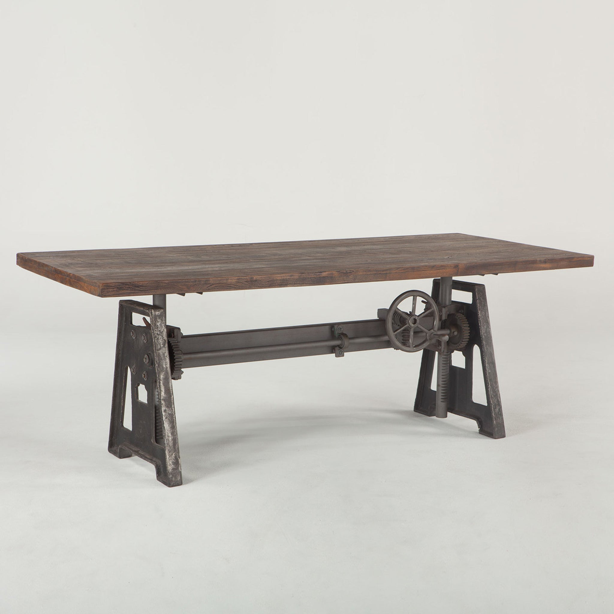 "Industrial Adjustable Height  Wood Dining Pub Table 83"" - Furniture on Main"