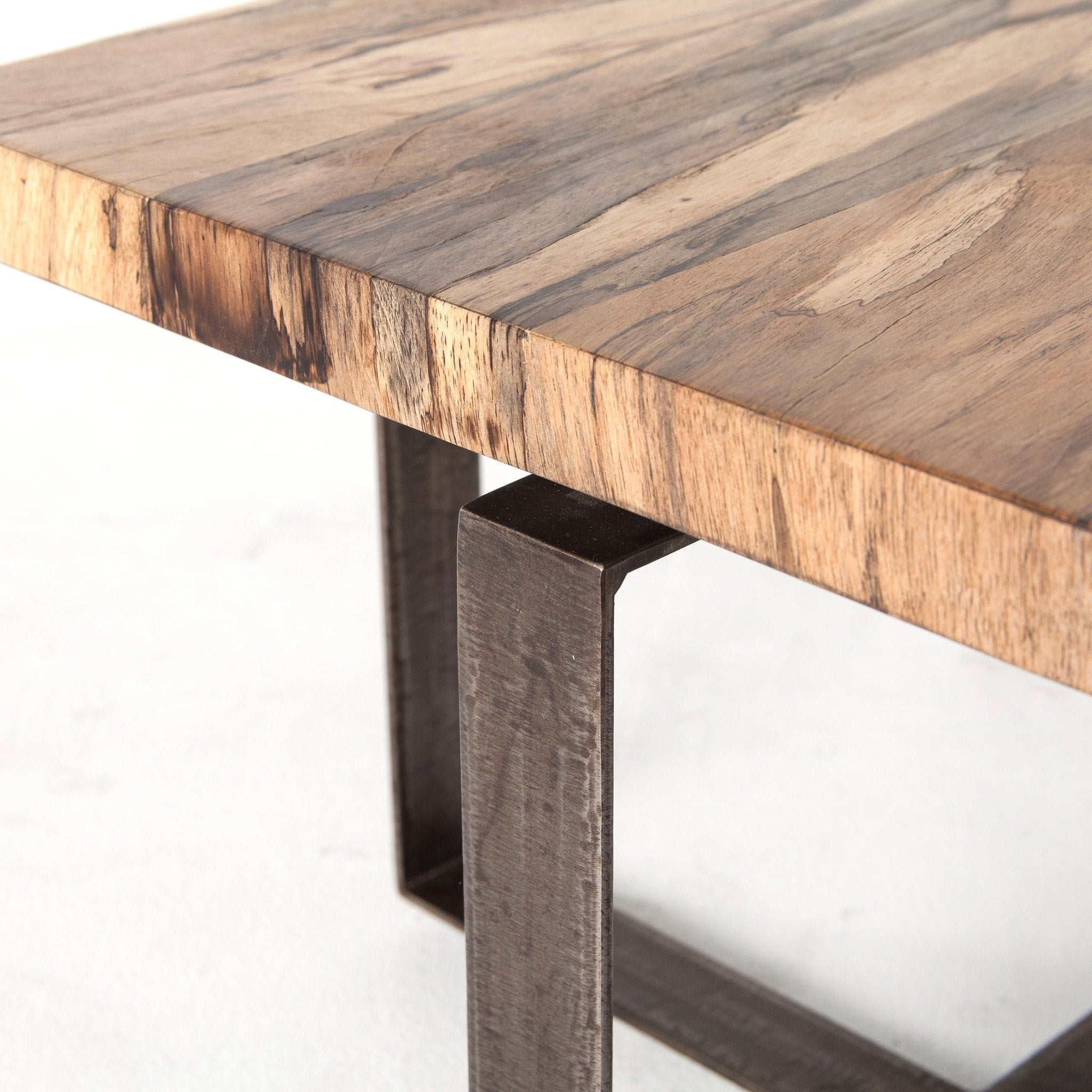 Iron Base Spalted Primavera  Wood Top Cocktail Table - Furniture on Main
