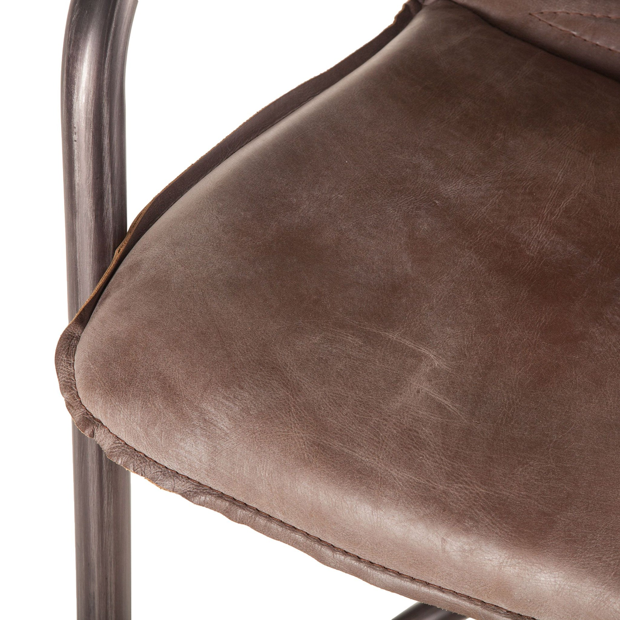 Metal Stationary Counter Height Barstool Set of 4 Stools Jet Brown Leather - Furniture on Main