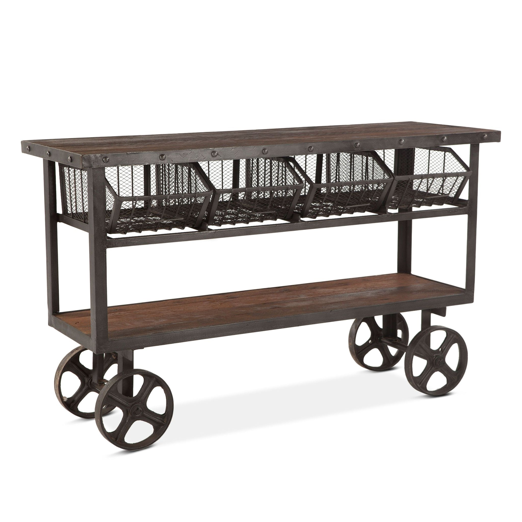 "Reclaimed Industrial Console Sofa Table Kitchen Cart  60"" - Furniture on Main"