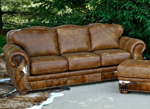Western Leather Sofa Hair on Hide Legend Stallone