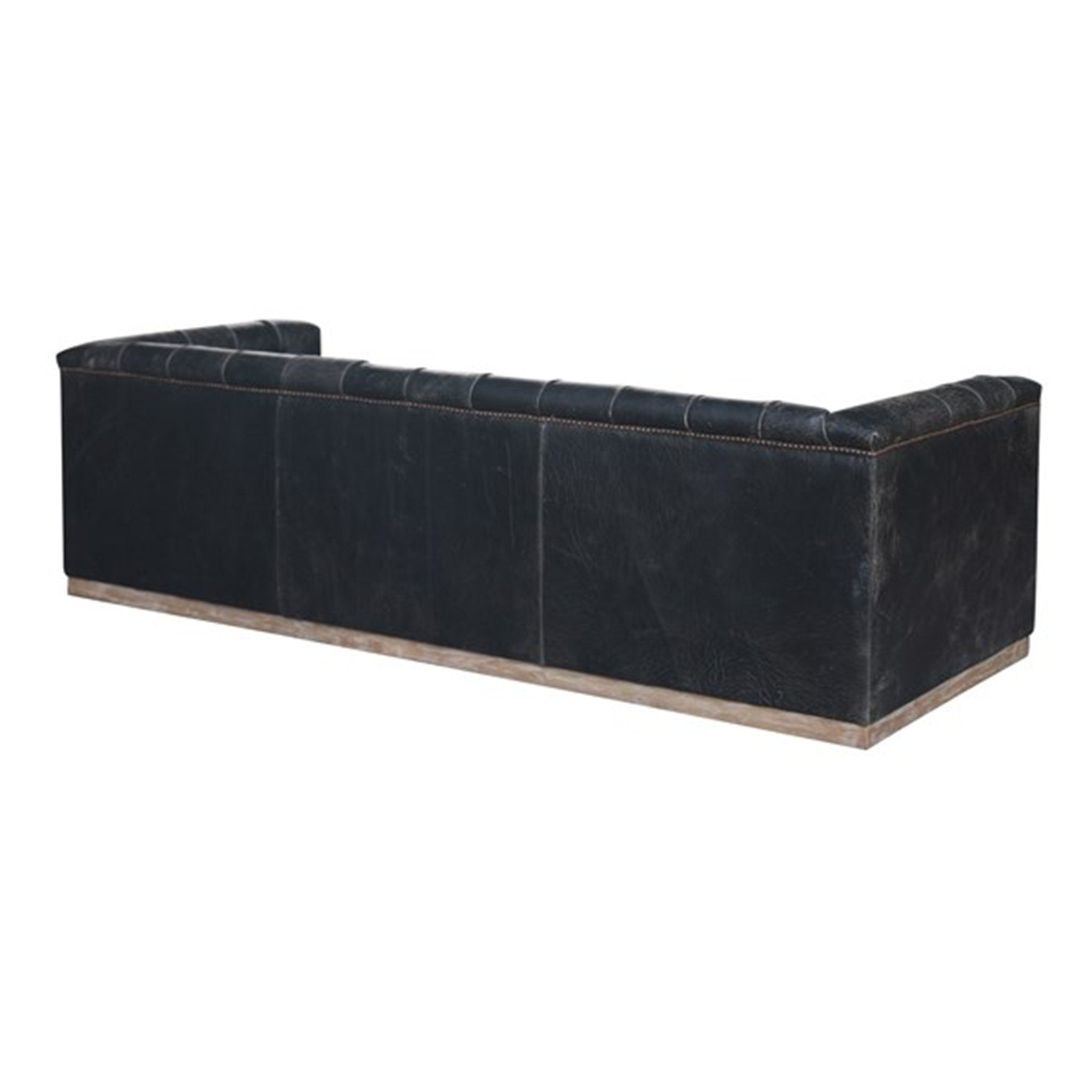 Library Sofa Distressed Black Leather Button Tufted - Furniture on Main