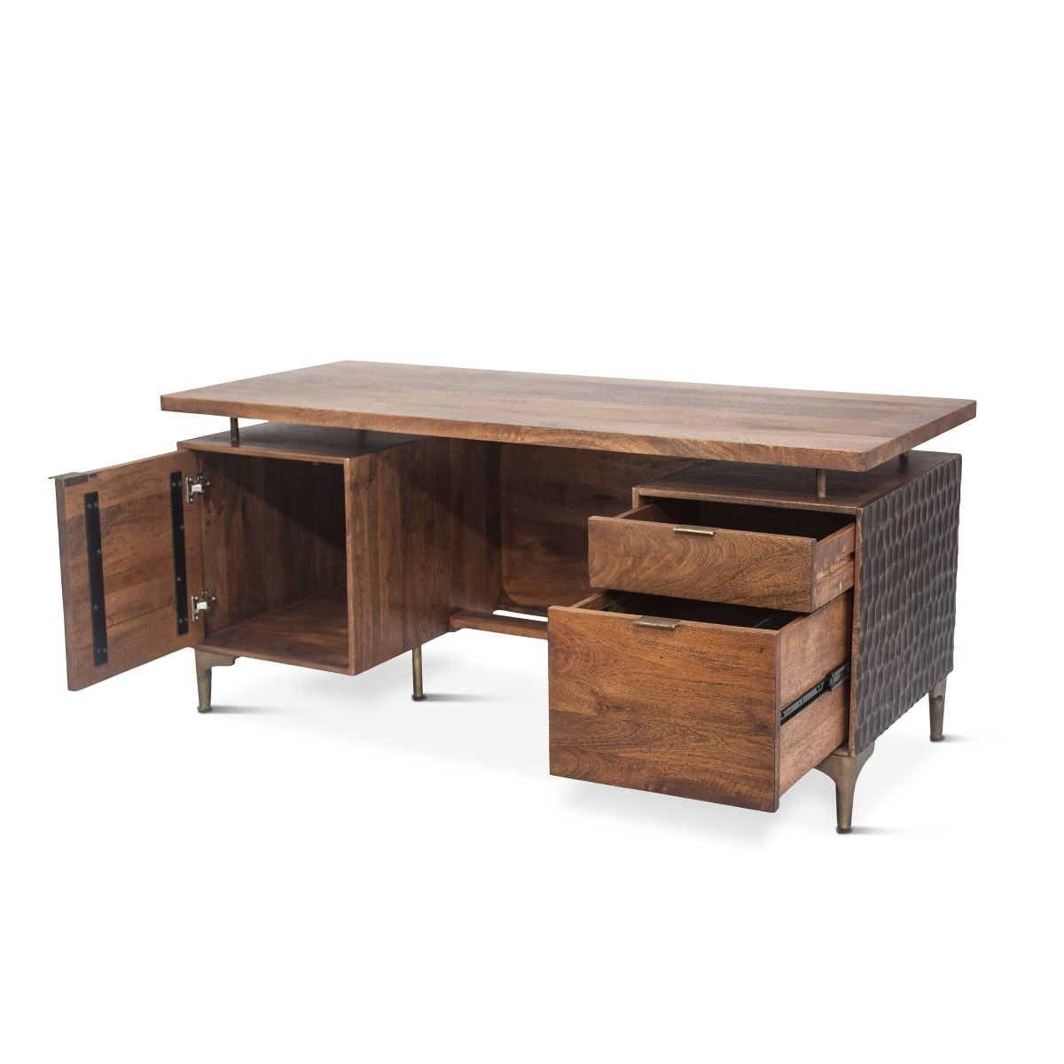 Mango Wood and Reclaimed Iron Industrial Desk - Furniture on Main