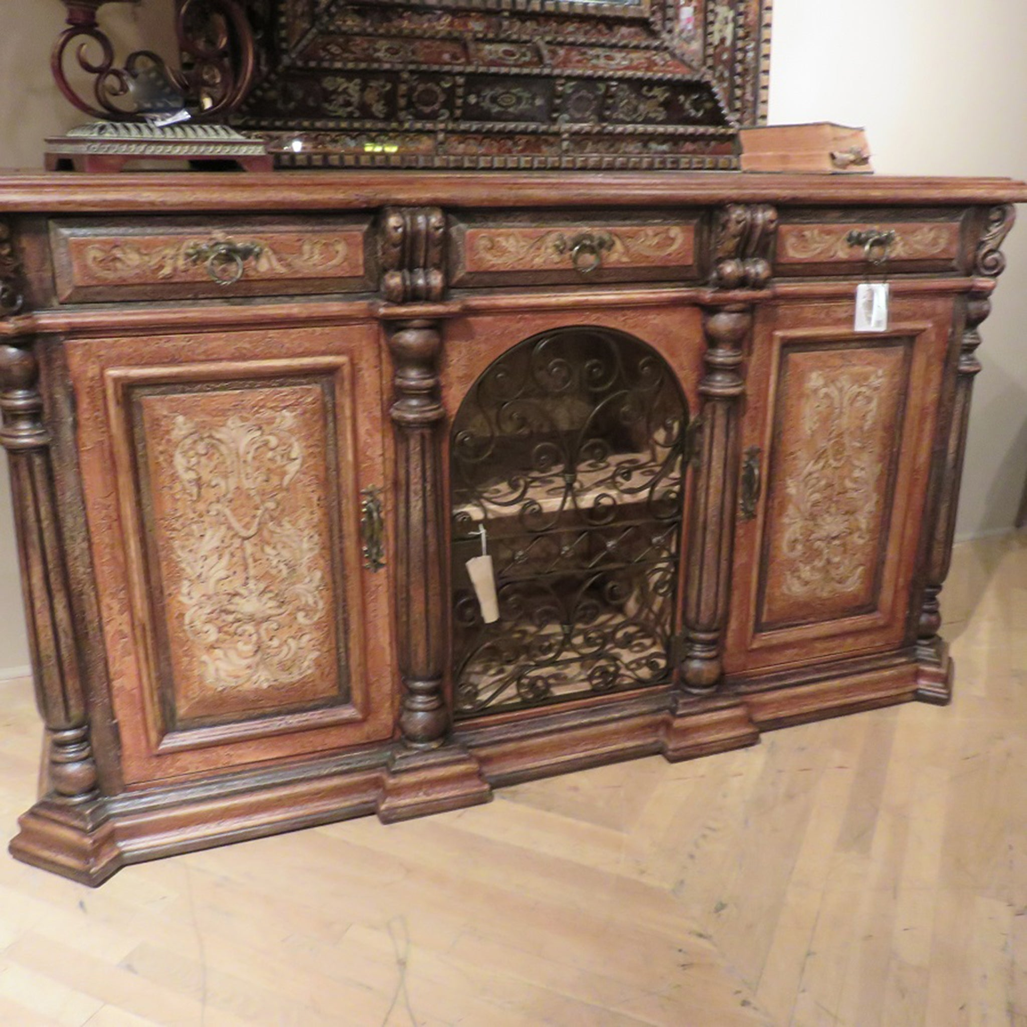 Olde World Hand Painted Rustic Iron Sideboard Buffet with Wrought Iron Scroll Doors - Furniture on Main