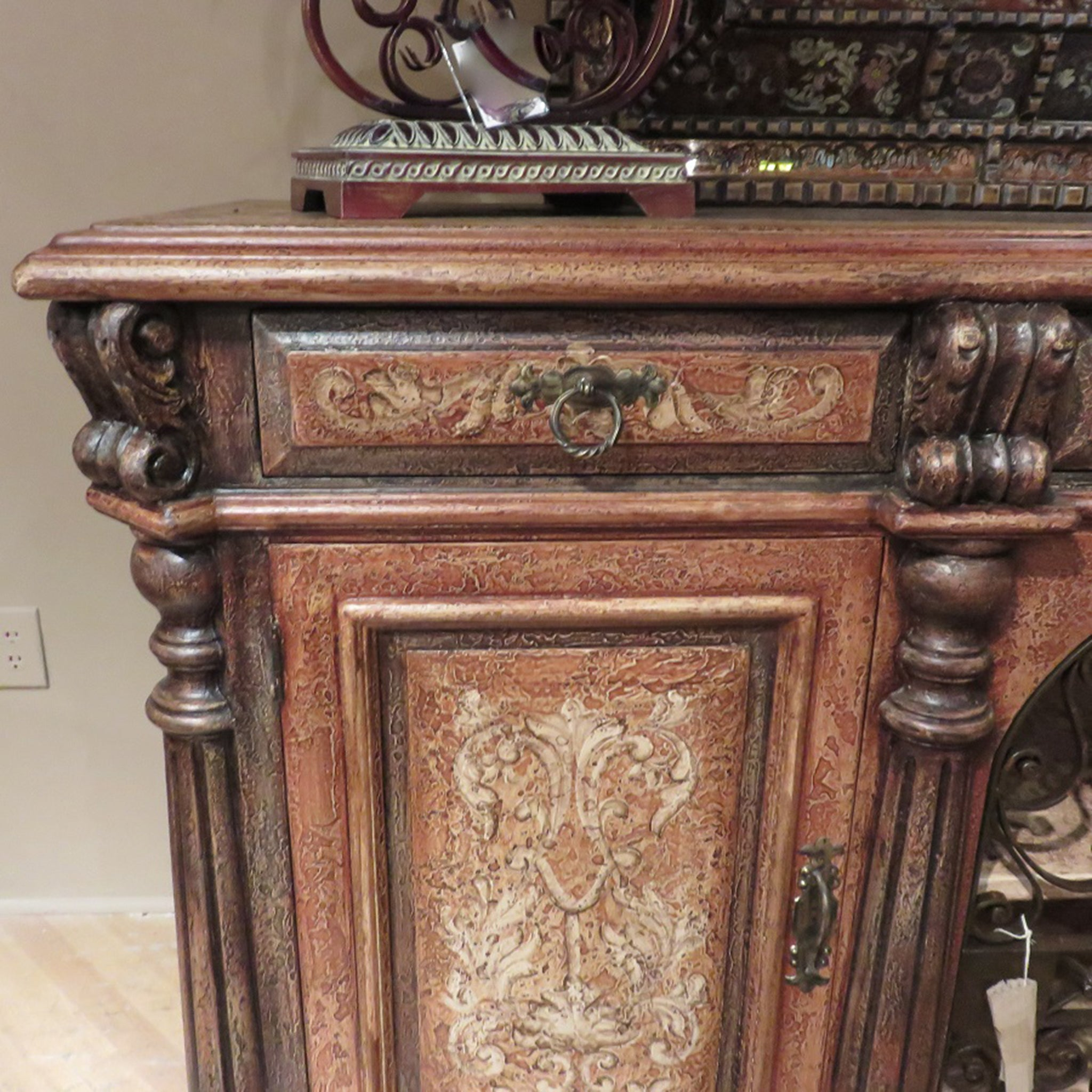 Olde World Hand Painted Rustic Iron Sideboard Buffet with Wrought Iron Scroll Doors