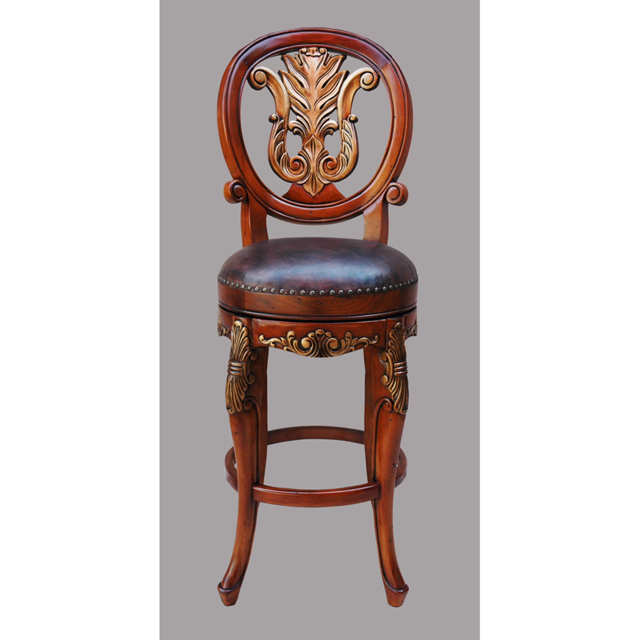 Ornate Hand Carved Barstool Set of 2 - Furniture on Main
