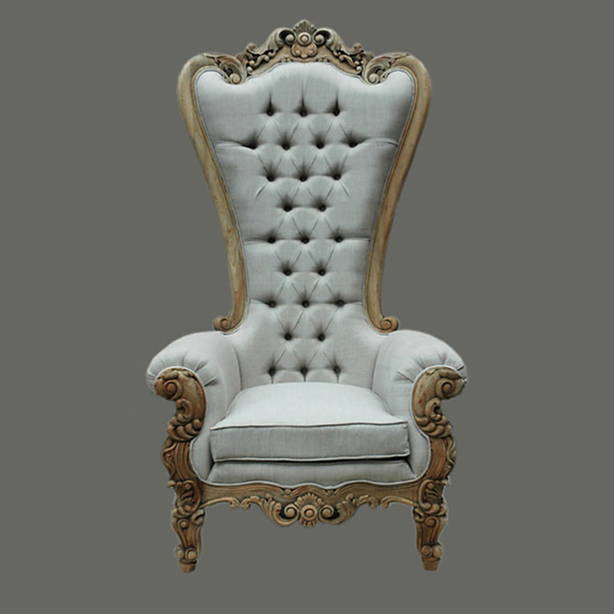 Ornate Queen Linen Upholstered Tall Chair - Furniture on Main