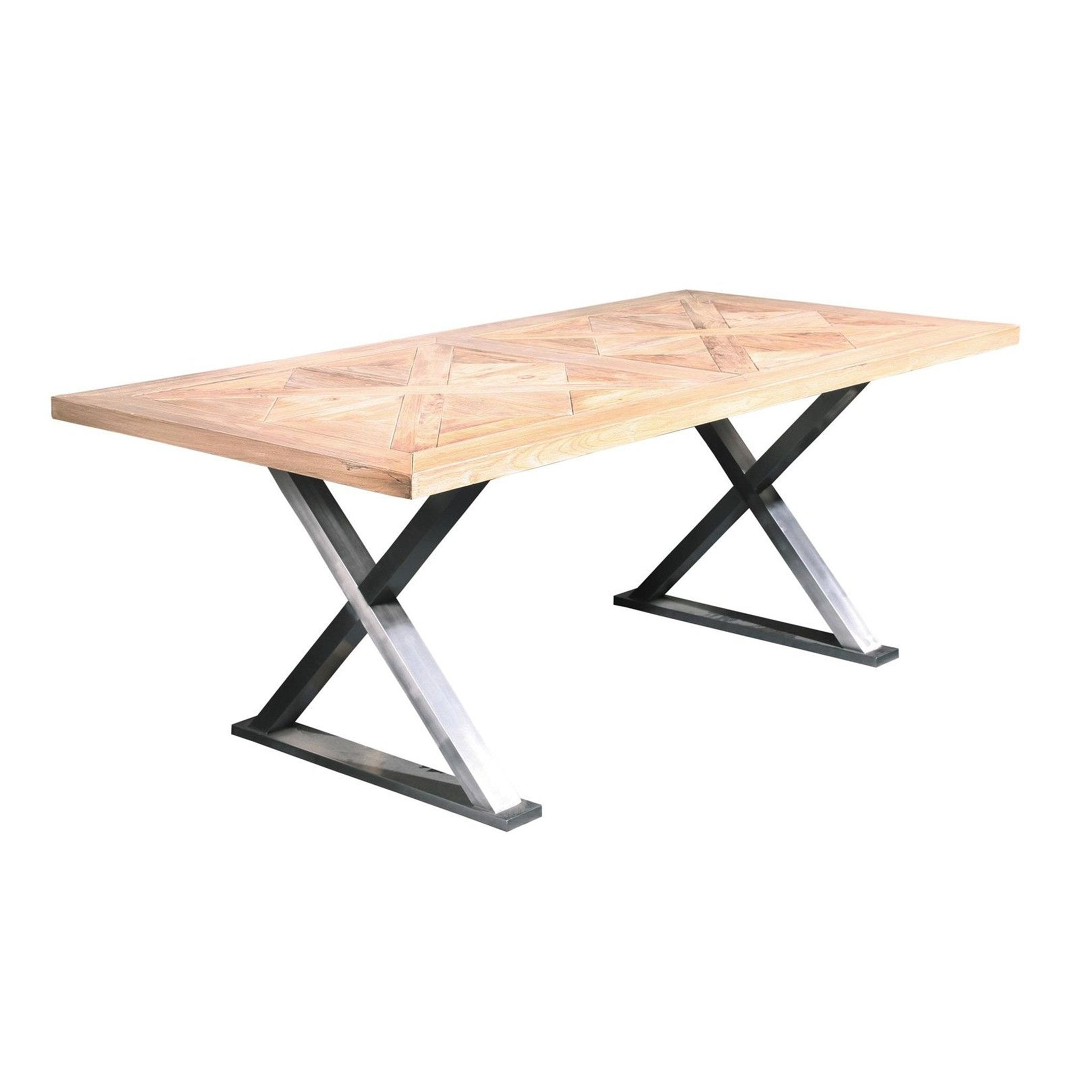 Reclaimed Elm Stainless Cross Base Restoration Contemporary Wood Dining Table - Furniture on Main
