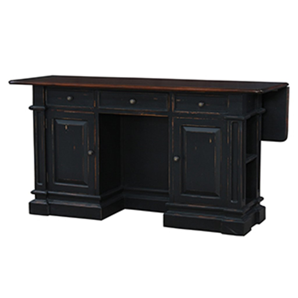Roosevelt Black Distressed Kitchen Island Counter Drop Leaf Bar Top - Furniture on Main