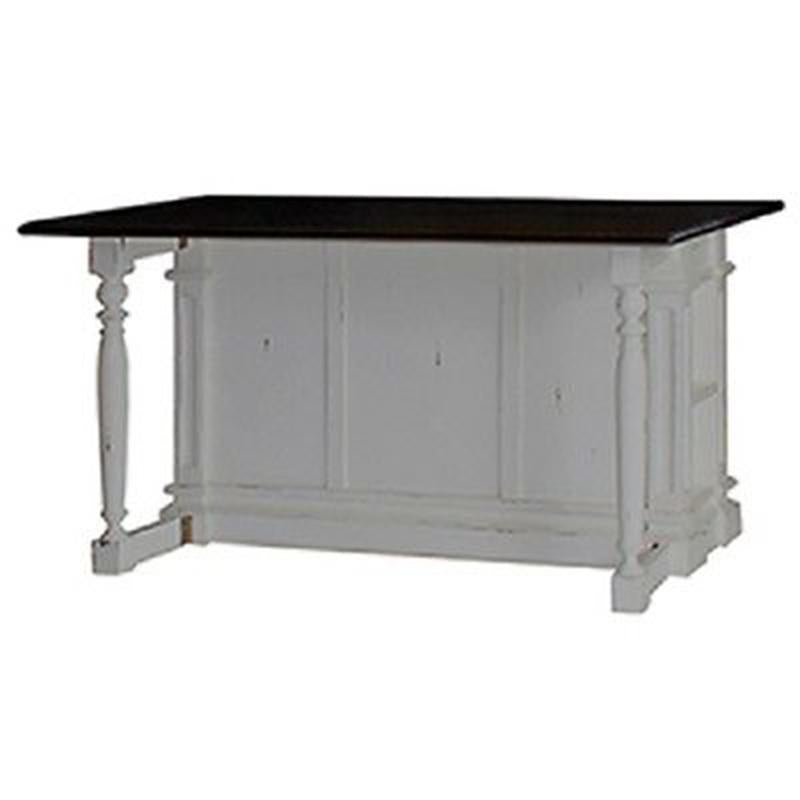 Roosevelt White Distressed Kitchen Island Counter Drop Leaf Bar Top