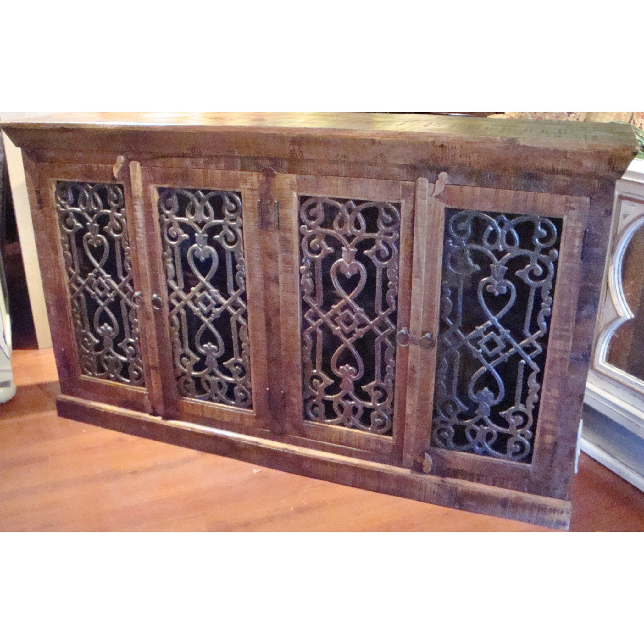 Rustic Brown Iron Inserts Credenza Buffet Media