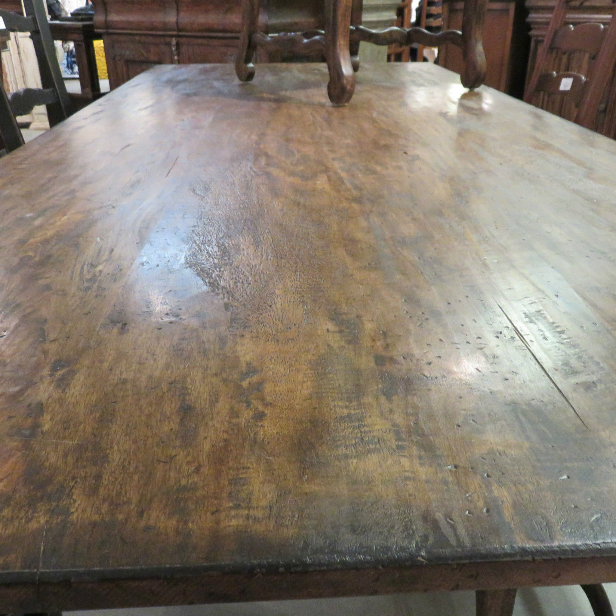 "Rustic Farmhouse Dining Table 84"" Black Distressed Reclaimed Wood Top"