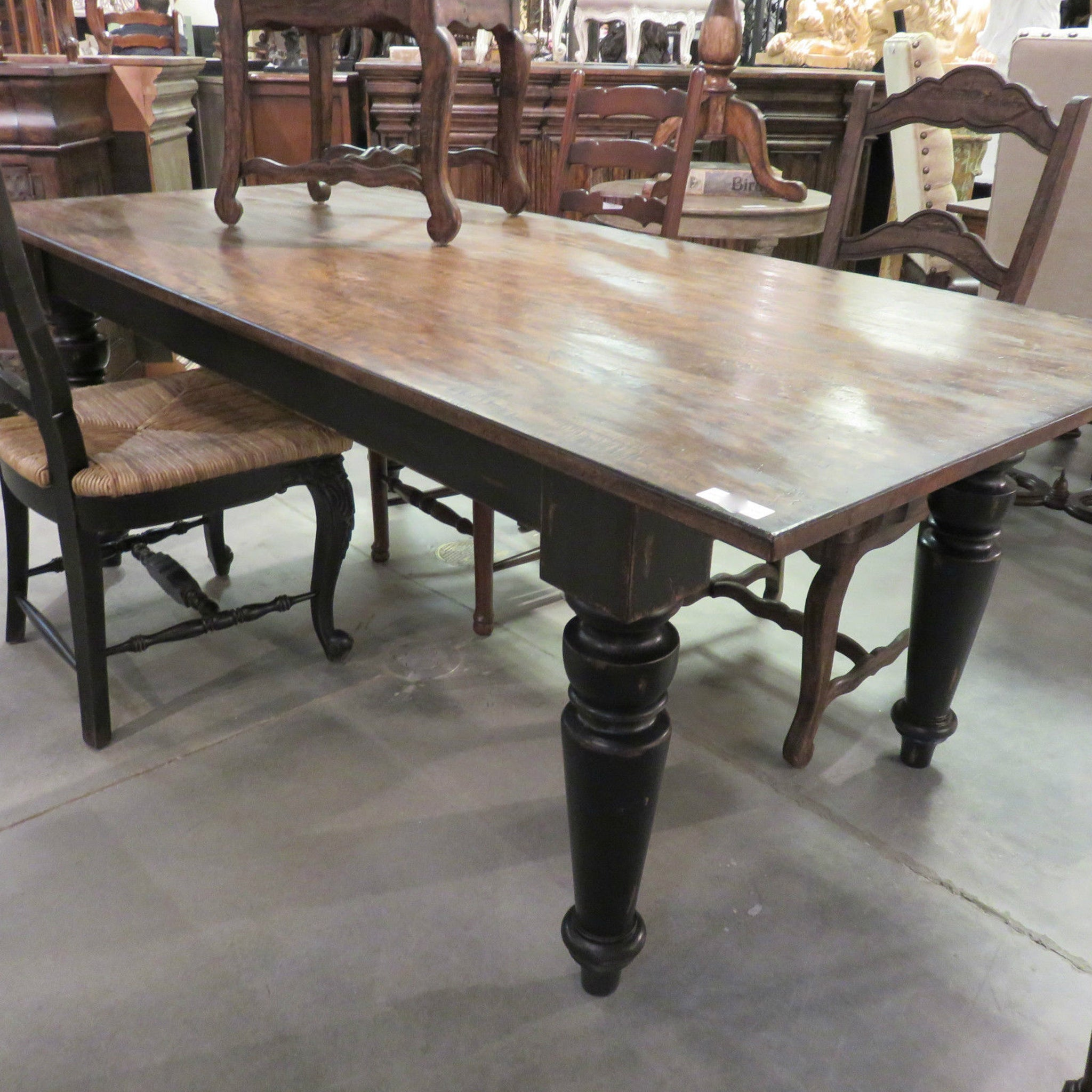 "Rustic Farmhouse Dining Table 84"" Black Distressed Reclaimed Wood Top - Furniture on Main"