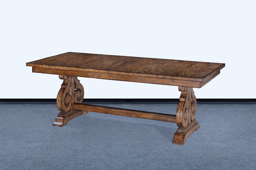 "French Scroll Base 84"" Dining Table Butterfly Leaf Rustic Pecan"