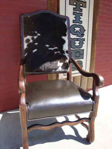 Cowhide Arm Chair Leather Seat