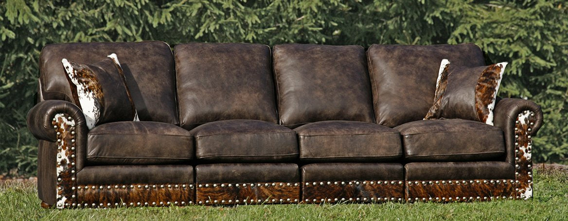 Western 4 Cushion Leather Sofa  122""