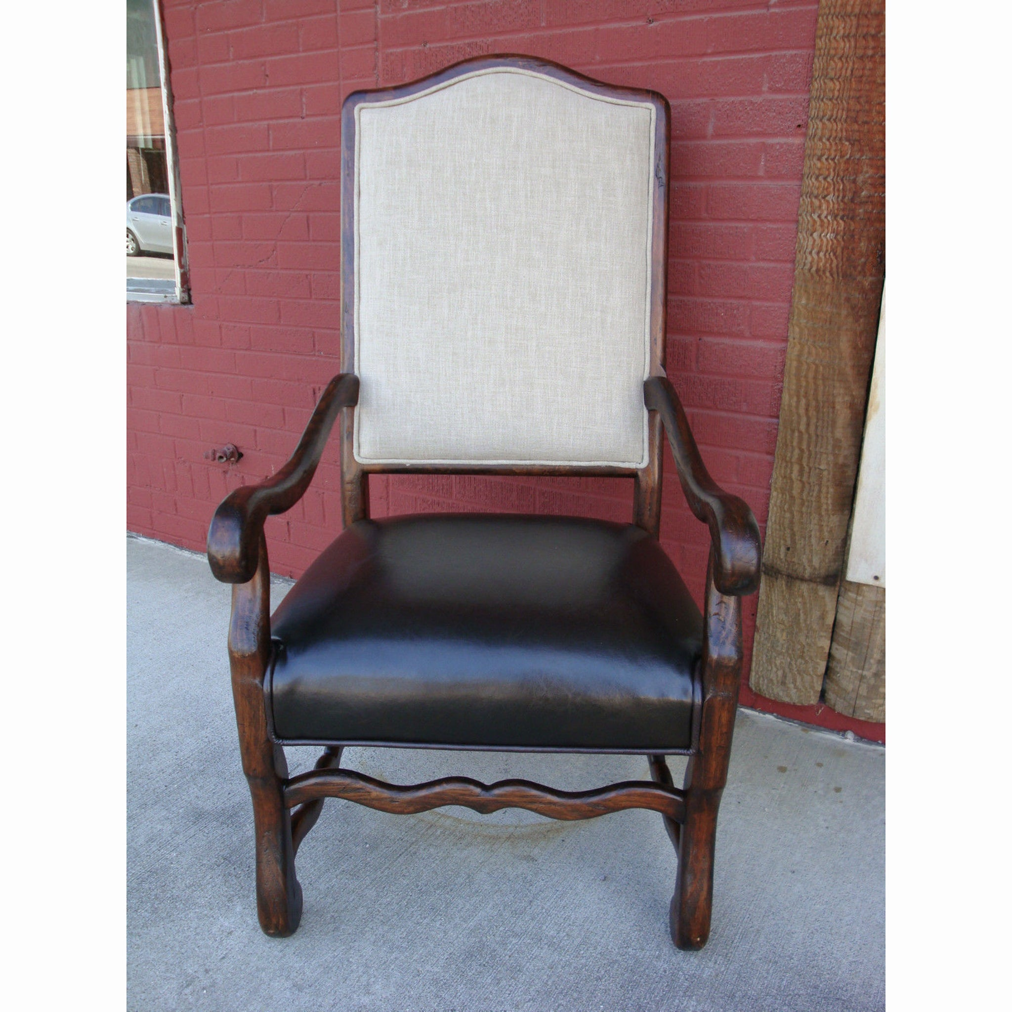 Sierra Arm Chair Linen & Leather Set of 2 - Furniture on Main