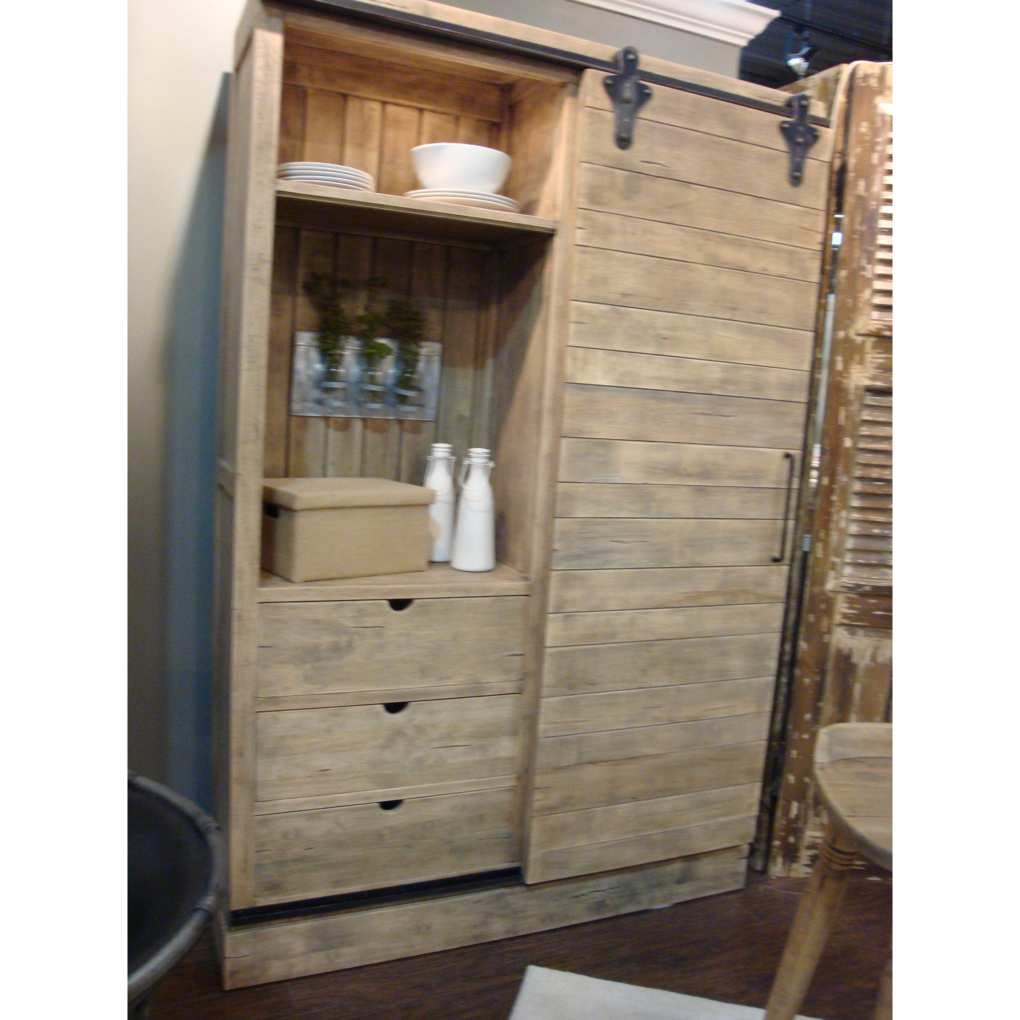 Sliding Barn Door Multi Use Cabinet Driftwood - Furniture on Main