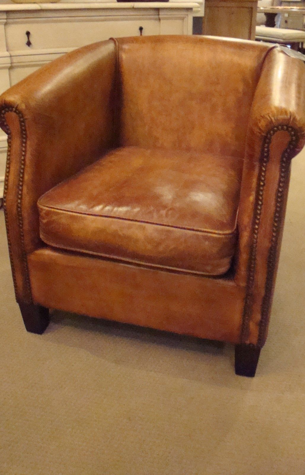 Antique Buffalo Distressed Top Grain Leather Accent Occasional Chair